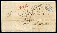 Lot 21300 [1 of 2]:1836 (Jul 12) outer from Paris to Port Maurice, Italy, fine blue '12/JUI