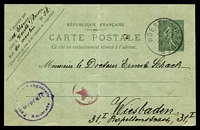 Lot 3741:1917 Sower HG #74 15c green on greenish, number 747, central crease, cancelled with nice 'WOERTH SUR SAUER/1155/13-5/19' to Weisbaden, German censor handstamp and magenta star-in-circle, both on face.