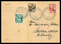 Lot 3996 [1 of 2]:1948 Bavarian Stamp Centenary special cancel on 12pf red dated 12.9.48 and 8dpf green & 10pf brown dated 18.9.48 on Centenary Postcard, addressed.