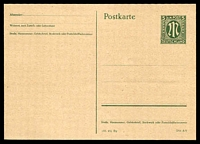 Lot 22667:1945 M-In-Oval Mi #P902 (American Zone), 5pf Russian green, with codes '(10.45) By Din A 6'.