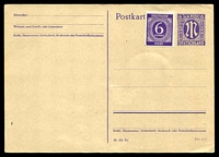 Lot 22666:1945 M-In-Oval HG #I438 6pf violet type a, with codes '(8.45) By Din A 6', uprated with 6pf violet numeral.