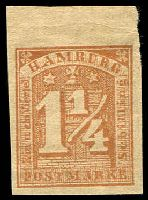 Lot 22474:1864 Mi #8 1¼ brown 4-margins no wmk, 1870s reprint of.