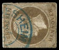 Lot 3979:1866 George V Mi #19c 3g grey-brown, a few thins, Cat €300, cancelled with blue double-circle '[HILD]