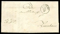 Lot 20020:1857 stampless entire, cancelled with 'ZWICKAU/13/OCT/57' (B1) to Zwenkau.