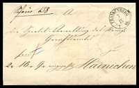 Lot 3599:1860 stampless entire, cancelled with 'FRANKENBERG/7/IX/7 60' (A1) to Hainichen.