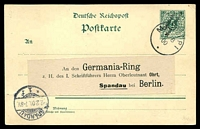 Lot 4157:Matupi 'MATUPI/6/8/00/*' on ovptd 5pf green Postal Card (HG #1), no message, addressed to Spandau.  PO 1/11/1894; closed 31/1/1906