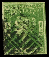 Lot 5680:1854 Imperf Laureates Wmk Double-Lined Numerals SG #87 3d yellow-green 4-margins, Cat £38.