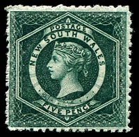 Lot 1190:1882-97 Wmk 2nd Crown/NSW SG #233a 5d blue-green, P12, perfs a bit woolly, MUH with clear band through gum, Cat £23.