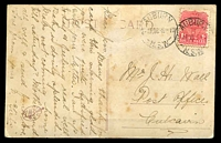Lot 732 [1 of 2]:Auburn: - 25mm 'AUBURN/2-AP08-5-PM/N.S.W.' on 1d Arms on toned PPC.  PO 16/6/1880.