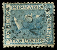 Lot 924:182: rays (2R23) on 2d blue DLR. [Rated R]  Allocated to Newtown-PO 1/3/1854.