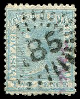 Lot 5331:185: '185' rays (2R23) on 2d pale blue DLR. [Rated 3R]  Allocated to St. Marks-PO 1/1/1853; closed 24/11/1883.