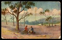 Lot 33 [1 of 2]:Australia - Artist: coloured Hutchings PPC of 'LUCK AT LAST', minor staining and knocks, used at Lake Bolac in 1906.