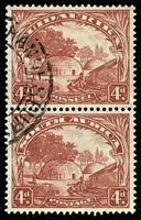 Lot 4569:1930-45 'SUIDAFRIKA' One Word SG #46aw 4d Wmk inverted vertical pair, Cat £32 as horizontal pair.