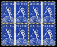 Lot 4577:1949 UPU SG #130a 3d Serif on C in block of 8 (4x2) [R1/1], not priced used Cat £48 as mint pair.