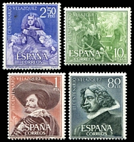 Lot 4368:1961 Velázquez SG #1401-4 set of 4, small spot on 2p50, Cat £17.