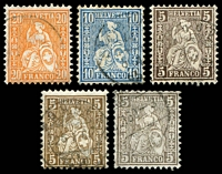 Lot 4613:1862-64 Seated Helvetia SG #54-6 5c brown x3 shades (incl yell-brown & blackish brown), 10c blue & 10c deep orange, Cat £20. (5)
