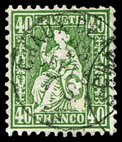 Lot 4196:1862-64 Seated Helvetia SG #58 40c green, Cat £75.