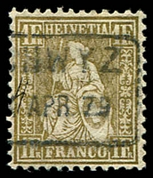 Lot 4471:1862-64 Seated Helvetia SG #60a 1f gold, cancelled with boxed '[SC]