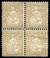 Lot 4698:1867-78 Seated Helvetia New Colours SG #61 2c light bistre-brown block of 4, 2 units MUH, Cat £10.
