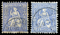 Lot 4614:1867-78 Seated Helvetia New Colours SG #65,65a 30c blue (toning) & 30c ultramarine, Cat £264.