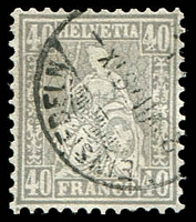 Lot 4615:1867-78 Seated Helvetia New Colours SG #66a 40c pale grey, cancelled with bridge-style 'EINSIEDELN/2-VII79X-/[?]