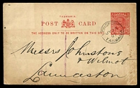 Lot 2022:1906 KEVII With 3 Lines of Text Under Arms HG #12 1d scarlet-red on buff, spike hole, cancelled with 'LONGFORD/JY26/07/TASMANIA' (A1).
