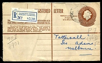 Lot 2239 [1 of 2]:Bathurst Street: - 'BATHURST ST/14AU56/TAS-AUST' (arcs 1½,2) on 1/0½d Registration Envelope with blue label. [Rated R]  PO 9/8/1954.