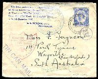 Lot 4444 [1 of 2]:1937 (Sep 18) Tin Can Mail cover to Australia with 2½d adhesive tied by NIUAFOOU cds with a plethora of cachets on front and back, minor faults, letter enclosed writes about the tin can mail service.