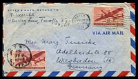 Lot 4767:1947 (Jul 22) use of 15c Airmail x2 on air cover from Tenafly, NJ to Weisbaden, US Civil Censorship handstamp on face.