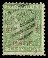 Lot 1636:1873 Surcharges SG #175 ½d on 1d green P12, Cat £17.