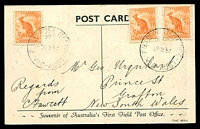 Lot 2667 [1 of 2]:Field P.O. No.3: - WWW #10 light 'FIELD POST OFFICE/NO 3/28SE39/VIC-AUST' on ½d roo x 3 on Field PO PPC. The rarest of the Field POs.  PO 28/9/1939; closed 28/9/1939.