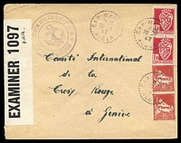 Lot 3638 [1 of 2]:1943 use of 50c pair and 1f50 pair, cancelled with 'CAP-MATIFOU/1625/20-1/43/ALGER' (B1), to Red Cross, Geneva, '51-929-W.&S. P.C.90/OPENED BY/EXAMINER 1097' label at left, German 'A.x.' (A1+) censor on back, Le Vaquemestre handstamp in TLC. [Cap Matifou was captured by the allies on 8/11/1942]