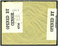 "Lot 14535 [2 of 2]:1918 (Nov 10) use of 12c blue on commercial cover from dental company to Munich, Germany, 'OPENED BY/CENSOR./1189 *' at left, 'OPENED BY/CENSOR./4506' on back endorsed ""Hold/C.H.W./24.4.19."" and cancelled with 'PARCELS/11084' (A1), boxed magenta 'RELEASED BY THE/BRITISH MILITARY AUTHORITY' (A1) on face."
