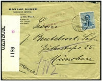 "Lot 14535 [1 of 2]:1918 (Nov 10) use of 12c blue on commercial cover from dental company to Munich, Germany, 'OPENED BY/CENSOR./1189 *' at left, 'OPENED BY/CENSOR./4506' on back endorsed ""Hold/C.H.W./24.4.19."" and cancelled with 'PARCELS/11084' (A1), boxed magenta 'RELEASED BY THE/BRITISH MILITARY AUTHORITY' (A1) on face."