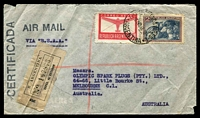 Lot 3642 [1 of 2]:1948 (Dec 10) use of 1p Air & 2p Fruit on registered air cover to Melbourne, endorsed 'VIA B.S.A.A.', Miami & San Francisco backstamps, small faults.