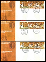 Lot 950:1970 Cook Bicentennial set of 12 long commemorative covers bearing se-tenant strip of 5, cancelled at Point Hicks (20APR), Kurnell (27APR), Bulli (27APR), Botany (27APR), Laurieton (27APR), The Entrance (4MAY), Coolangatta (13MAY), Gladstone (20MAY), Rockhampton (25MAY), Mackay (1JUN), Cooktown (15JUN) & Thursday Island (17AUG). Point Hicks, Bulli & Cooktown all with Red spot on sail flaw.