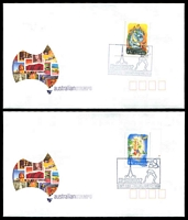 Lot 5054:2002 Stamp Show Melbourne two covers each with a different 45c Fairy Tales with 'PC/NZA' perfin, cancelled on 5 OCT 2002.