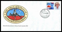 Lot 4821:2002 the Great Australian Outback Cattle Drive special Maree cancel of 7JUN2002 on 45c P-Stamp on illustrated cover.