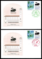 Lot 595:2007 Swan River Stamp Show two illustrated covers with Stamp Show P-Stamps, one cancelled in green on 20 Oct and the other in red on 21 Oct.