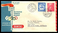 Lot 4700 [1 of 2]:1956 Greece - Australia AAMC #1362 illustrated Qantas Olympic Torch Flight cover, Olympic Main Stadium backstamp, addressed to NSW.