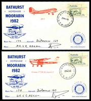 Lot 1031 [2 of 4]:1982 Southern Cross Air Race AAMC #1963 set of 6 Rotary covers for different planes signed by pilots, plus race brochure.
