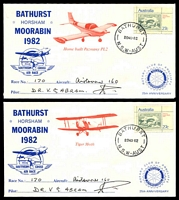 Lot 1031 [3 of 4]:1982 Southern Cross Air Race AAMC #1963 set of 6 Rotary covers for different planes signed by pilots, plus race brochure.