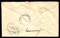 Lot 5031 [2 of 2]:1916 stampless cover with violet 'O.H.M.S/War Census Call to Arms' handstamp, two boxed 'NOT KNOWN BY/LETTER CARRIERS/ST KILDA' handstamp, 'ST KILDA/93015MR16/VIC' (WWW 100) and magenta 'RETURNED TO SENDER' pointed finger on face of Town Clerk's Office, St. Kilda cover and 'DEAD LETTER OFFICE/24MR16/MELBOURNE' in red on back. [Cover would have contained a census form, and hence was sent postage free. The census was taken prior to the Conscription Referendum.]