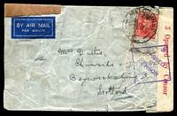 Lot 4624 [2 of 2]:1942 (Dec 2) censored cover to Scotland franked with KGVI 2½d tied by Melbourne cds, censor tape and cachet, gummed brown paper affixed at left and handstruck 'ACCIDENTALLY DAMAGED BY/STAMP CANCELLING MACHINE' applied, wrinkling as to be expected. Most unusual.