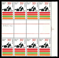 Lot 3287:1972 Olympics BW #604za, 35c in gutter block of 8 with sheet number, Cat $30.