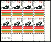 Lot 3288:1972 Olympics BW #604zb 35c in lower pane block of 8 with sheet number.
