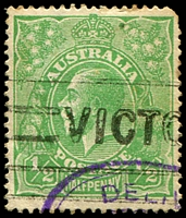 Lot 1192:½d Green Comb Perf - BW #63(2)l Top frame broken over right wattles, Cat $25, rounded TRC.