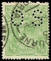 Lot 1194:½d Green Comb Perf - [6R12] Break in BLC of right value shield in line with fraction bar perf 'OS'