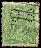 Lot 1195:½d Green Comb Perf - [6R12] with Break in BLC of right value shield in line with fraction bar perf 'OS'