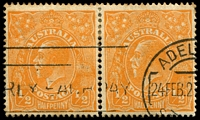 Lot 229:½d Orange - BW #66(8)j [8L32] pair right unit with No top to crown, perfs at top toned, discoloured back, Cat $35.
